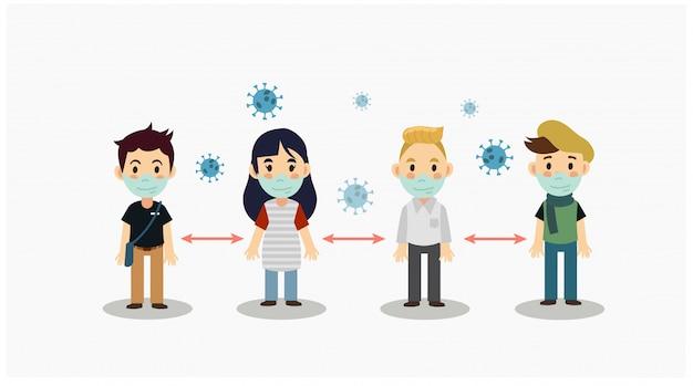 Simpatico cartone animato di distanza sociale, proteggere dal concetto di diffusione dell'epidemia di coronavirus covid-19