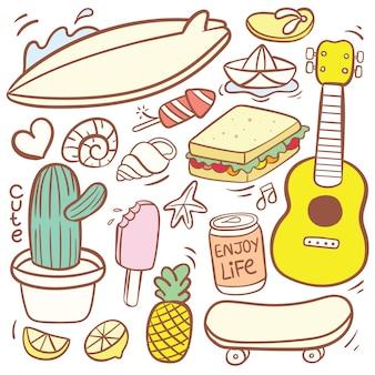 Simpatico cartone animato di doodle di vari alimenti