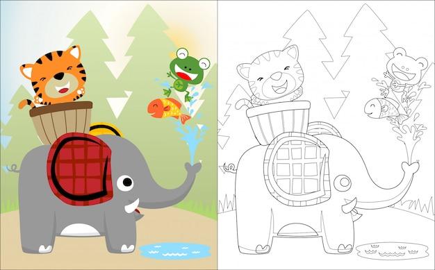 Simpatico cartone animato di elefanti con i suoi amici