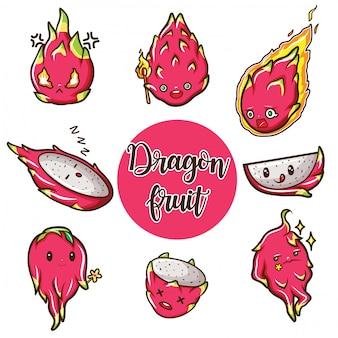 Simpatico cartone animato di frutta del drago