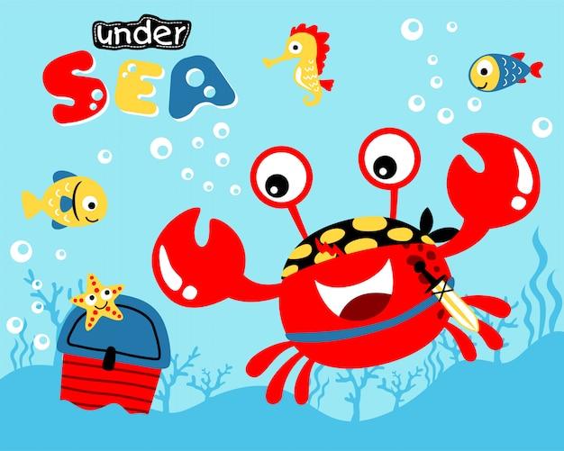 Simpatico cartone animato di granchio rosso sott'acqua