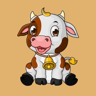 Simpatico cartone animato di mucca bambino, disegnato a mano, vettore
