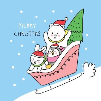 Simpatico cartone animato di natale, orso polare e coniglio e pinguino che giocano a slitta