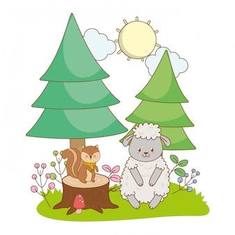Simpatico cartone animato di piccoli animali