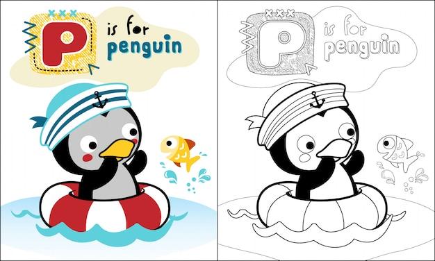 Simpatico cartone animato di pinguino nuotare con poco pesce