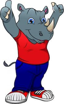 Simpatico cartone animato di rinoceronte