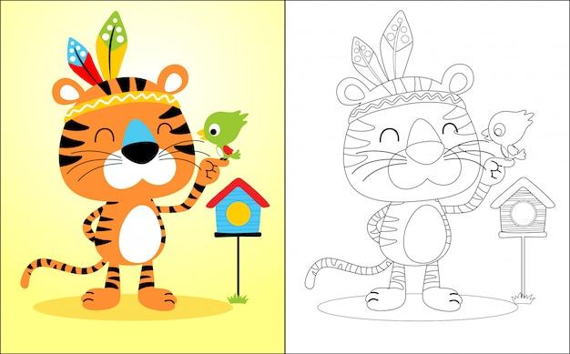 Simpatico cartone animato di tigre con uccellino