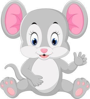 Simpatico cartone animato di topo agitando