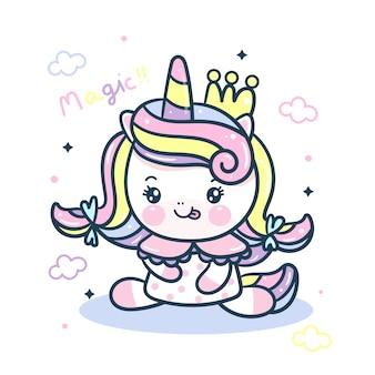 Simpatico cartone animato di unicorno pony