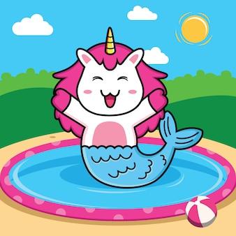 Simpatico cartone animato di unicorno sirena