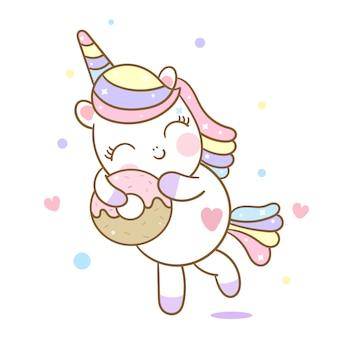Simpatico cartone animato di unicorno vettoriale amore ciambella