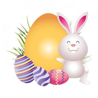 Simpatico cartone animato di uova di pasqua