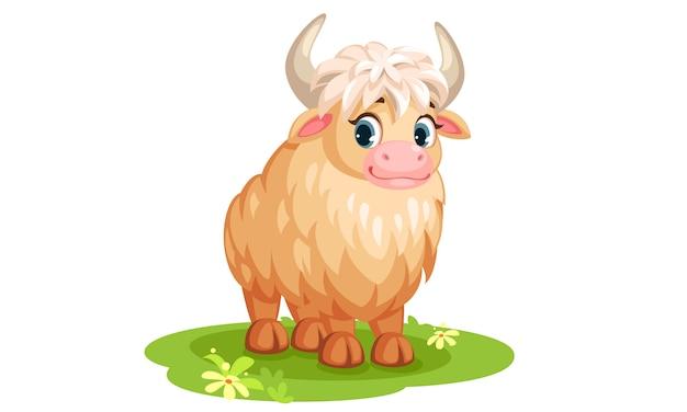 Simpatico cartone animato di yak bianco