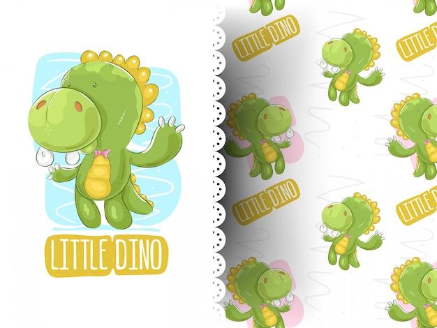 Simpatico cartone animato dinosauro su sfondo a strisce