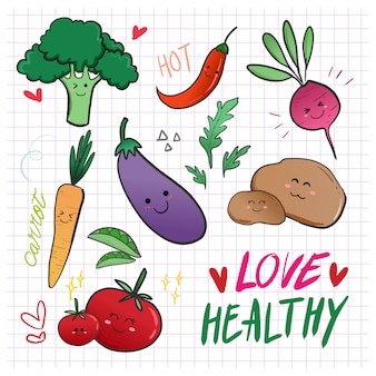 Simpatico cartone animato doodle caratteri vegetali di dieta sana.
