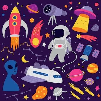 Simpatico cartone animato doodle di spazio