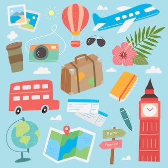 Simpatico cartone animato doodle di viaggio