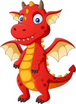 Simpatico cartone animato drago rosso. illustrazione
