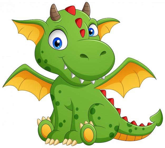 Simpatico cartone animato drago verde. illustrazione