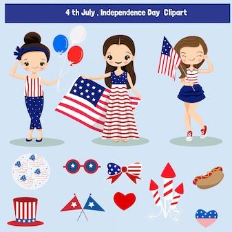 Simpatico cartone animato ed elementi per il 4 ° giorno dell'indipendenza degli stati uniti