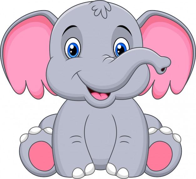 Simpatico cartone animato elefante bambino
