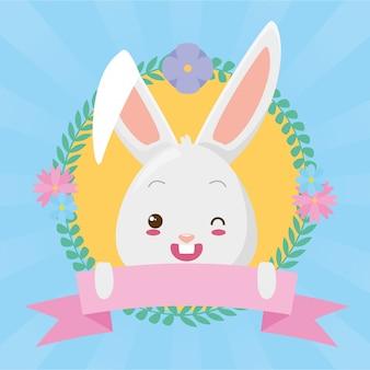 Simpatico cartone animato faccia di coniglio con nastro