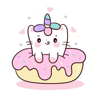 Simpatico cartone animato gatto unicorno con ciambella