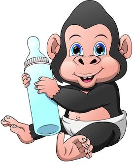 Simpatico cartone animato gorilla bambino