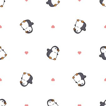 Simpatico cartone animato grasso pinguino con motivo a cuore senza soluzione di continuità