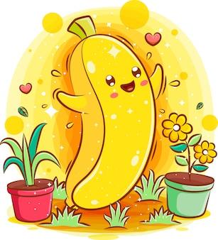 Simpatico cartone animato kawaii sorridente di carattere banana