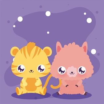 Simpatico cartone animato lama e tigre