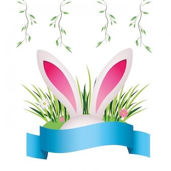 Simpatico cartone animato orecchie di coniglio