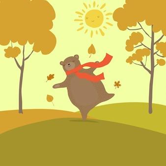 Simpatico cartone animato orso per l'autunno
