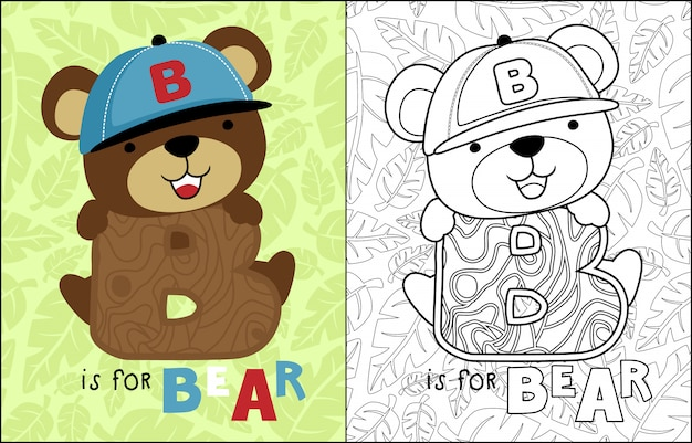 Simpatico cartone animato orso su foglie seamless pattern
