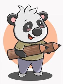 Simpatico cartone animato panda torna a scuola