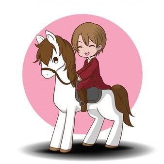 Simpatico cartone animato personaggio di corse di cavalli. personaggio dei cartoni animati di sport.