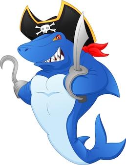 Simpatico cartone animato pirata squalo
