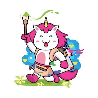 Simpatico cartone animato pittore unicorno