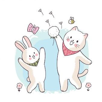 Simpatico cartone animato primavera, gatto e coniglio giocando a fower