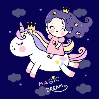 Simpatico cartone animato principessa unicorno cavalcando pony in cielo