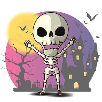 Simpatico cartone animato scheletro, concetto di halloween.