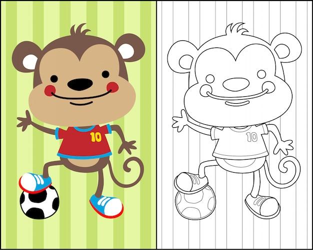 Simpatico cartone animato scimmia sul vettore del libro da colorare