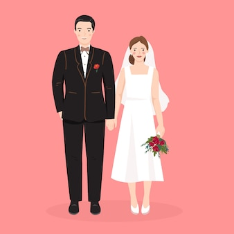 Simpatico cartone animato sposi per modello di carta di invito di nozze