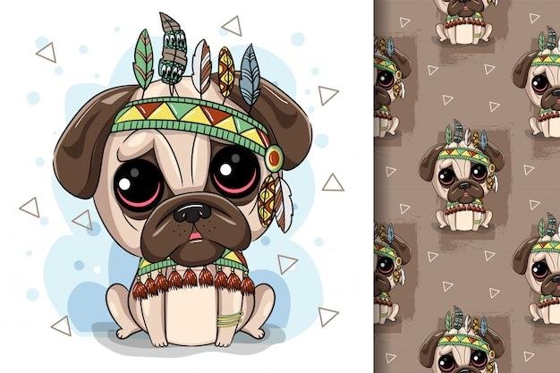 Simpatico cartone animato tribale pug dog e con una piuma
