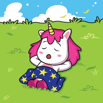 Simpatico cartone animato unicorni stanno dormendo