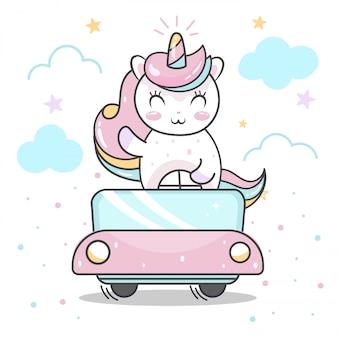 Simpatico cartone animato unicorno alla guida di un'auto