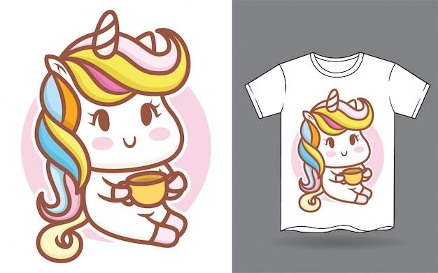 Simpatico cartone animato unicorno bambino per la stampa di t-shirt