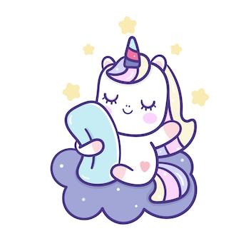 Simpatico cartone animato unicorno che dorme sulla nuvola