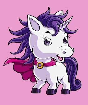 Simpatico cartone animato unicorno super eroe, disegnato a mano