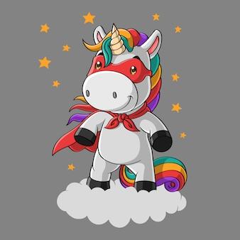 Simpatico cartone animato unicorno super eroe nel cielo, disegnato a mano